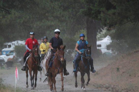 Ron on SAR Tiki FS Warrior, with Darlene Merlich on SAR Tiki Rock On at the Renegade Rendezvous 50 mile Ride, 2014. Warrior got the BC.