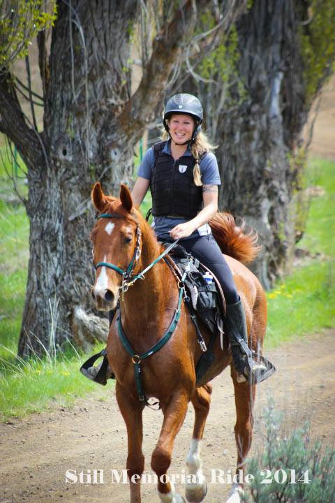 SAR Trainer, Celena Pentrack on SAR Dragon Rider at the Still Prineville Ride, 2014